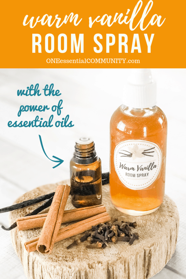 homemade warm vanilla room spray recipe made with essential oils, cinnamon, clove, orange, and vanilla