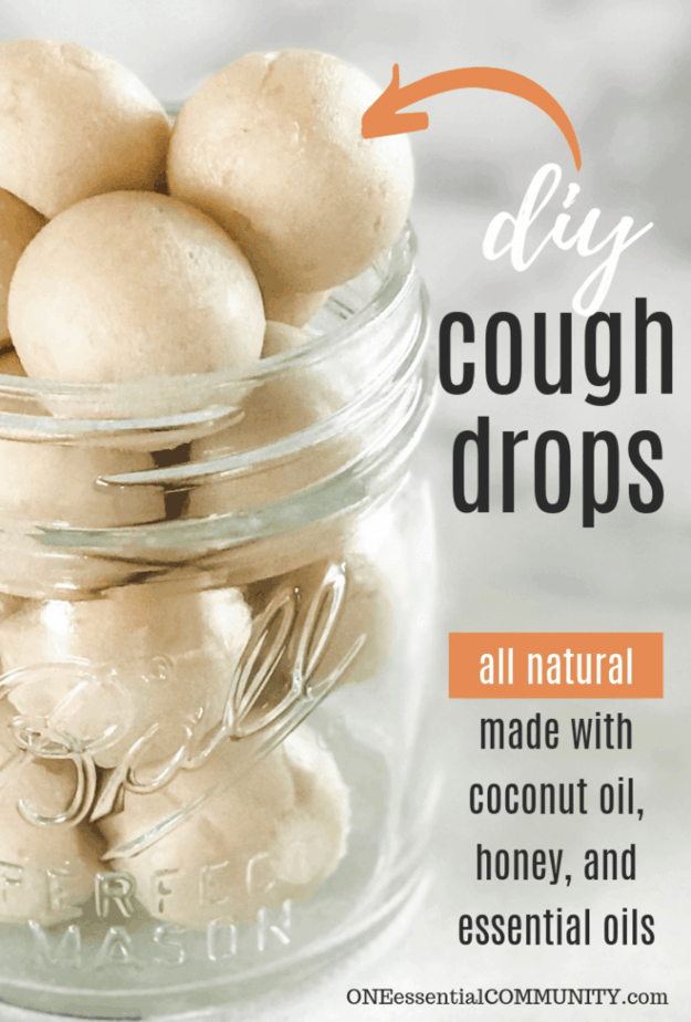 "homemade coconut and honey cough drops in a glass jar with words ""DIY cough drops"""