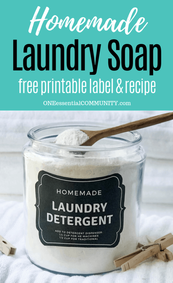 homemade powder laundry soap in glass jar