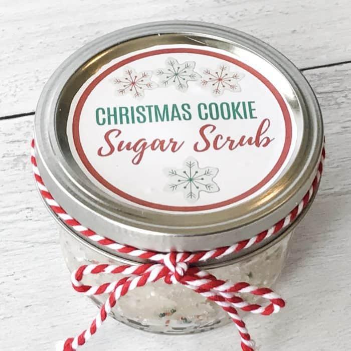 Christmas Cookie Sugar Scrub jar with labeled lid