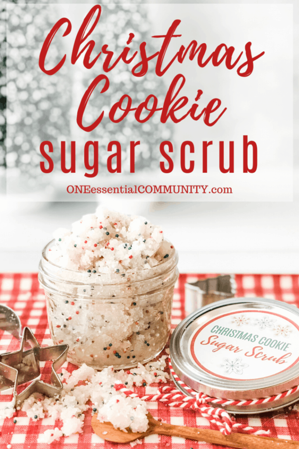 Christmas Cookie Sugar Scrub title image with scrub in jar with lid and label