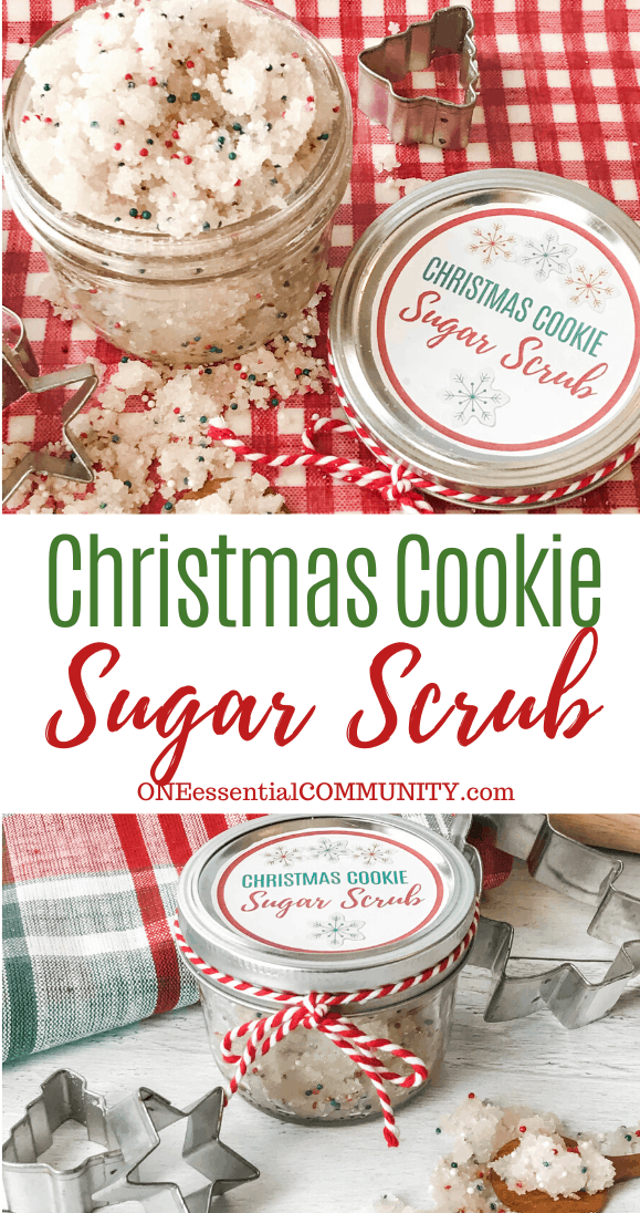 Christmas Cookie Sugar Scrub title image with sugar scrub in glass jar next to custom labeled lid, and fully assembled jar with lib and bow