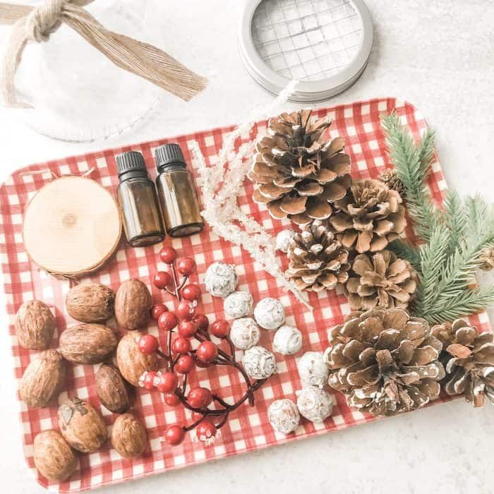 supplies to make CHristmas essential oil diffuser
