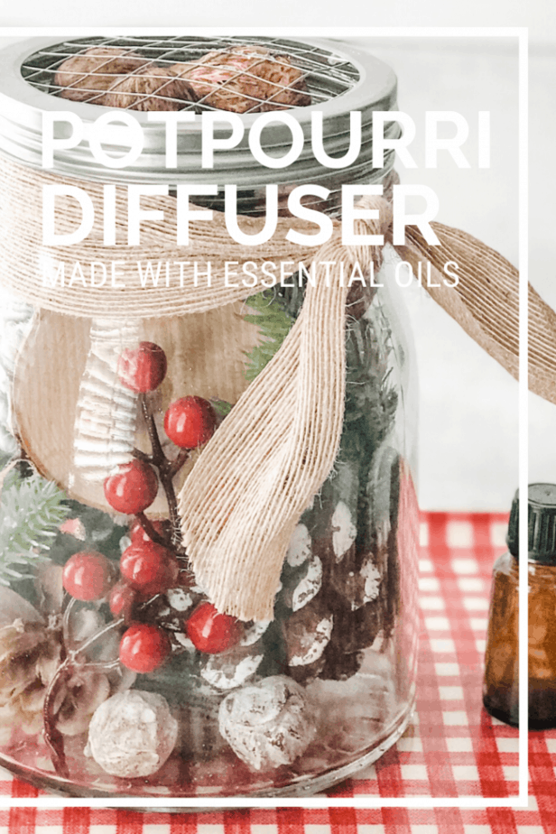 pinterest image for Christmas potpourri diffuser made with essential oils