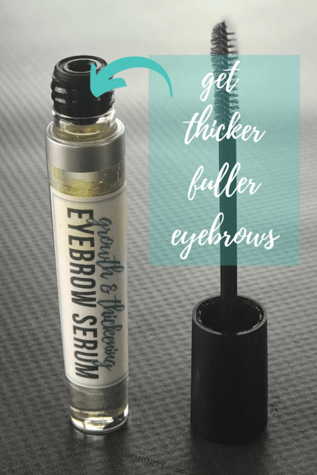 DIY eyebrow serum for thicker, fuller, faster growing eyebrows - tube stands next to applicator wand