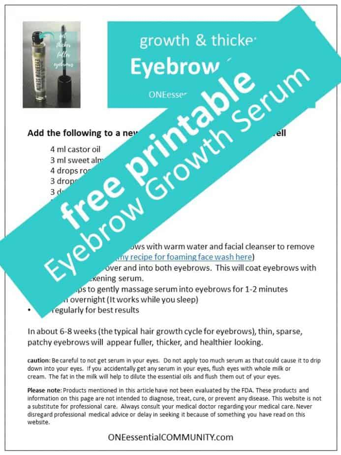 free printable recipe and label for homemade eyebrow growth serum made with essential oil