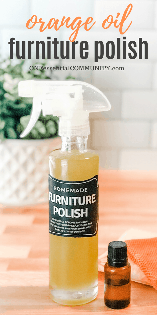 Orange Oil Furniture Polish in custom bottle and label, with sweet orange essential oil