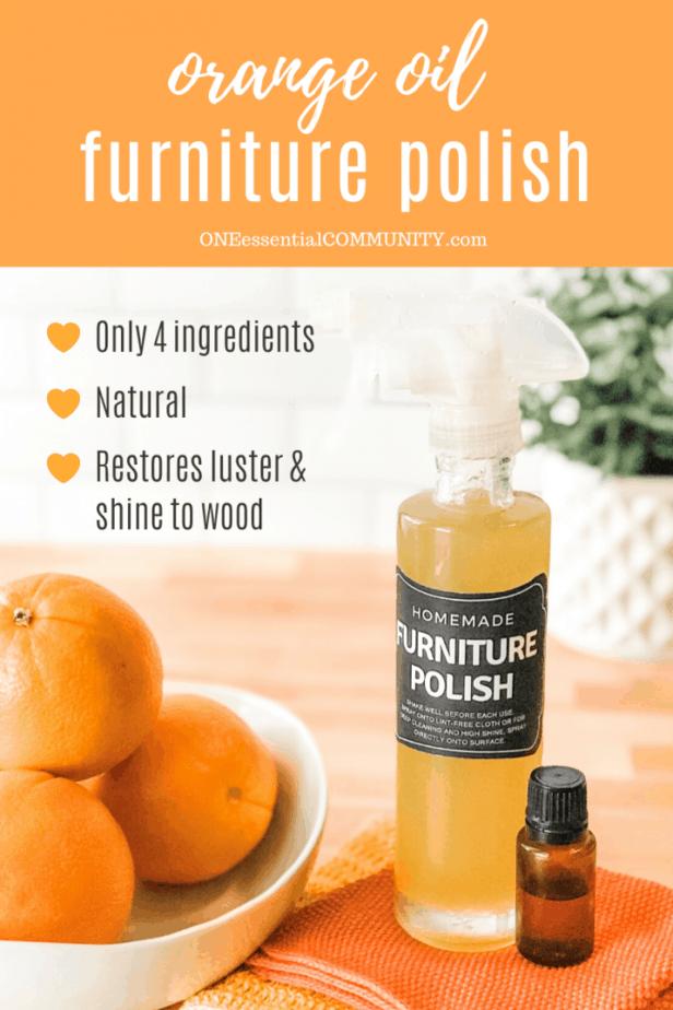 Homemade DIY orange oil furniture polish in custom bottle, sweet orange essential oil bottle, bowl of oranges