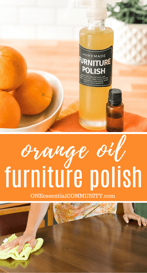 Homemade DIY furniture polish in custom bottle and label, with sweet orange essential oil bottle, bowl of oranges, and person polishing table