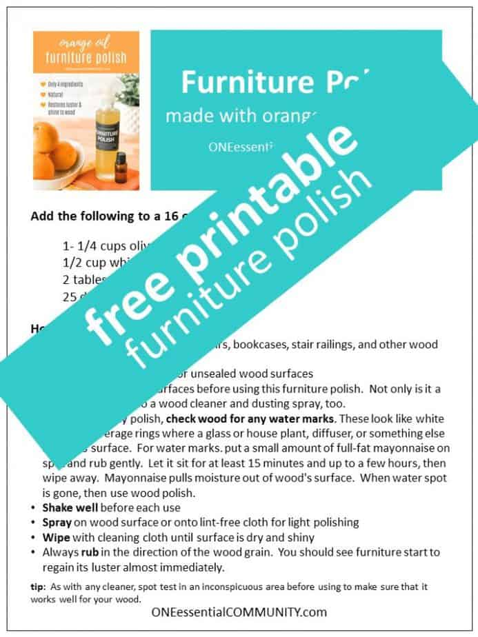 Link to free printable of furniture polish recipe and labels