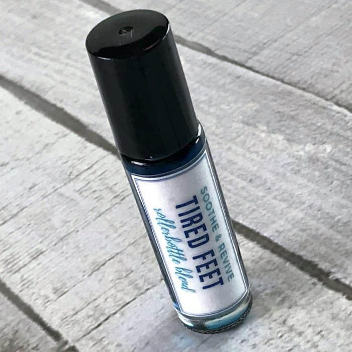 free printable label applied to soothe & revive tired feet rollerball