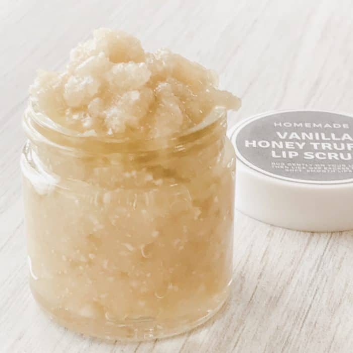 jar of vanilla honey lip scrub with label, made with tangerine essential oil