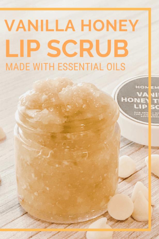 jar of vanilla honey lip scrub, homemade DIY recipe with essential oils