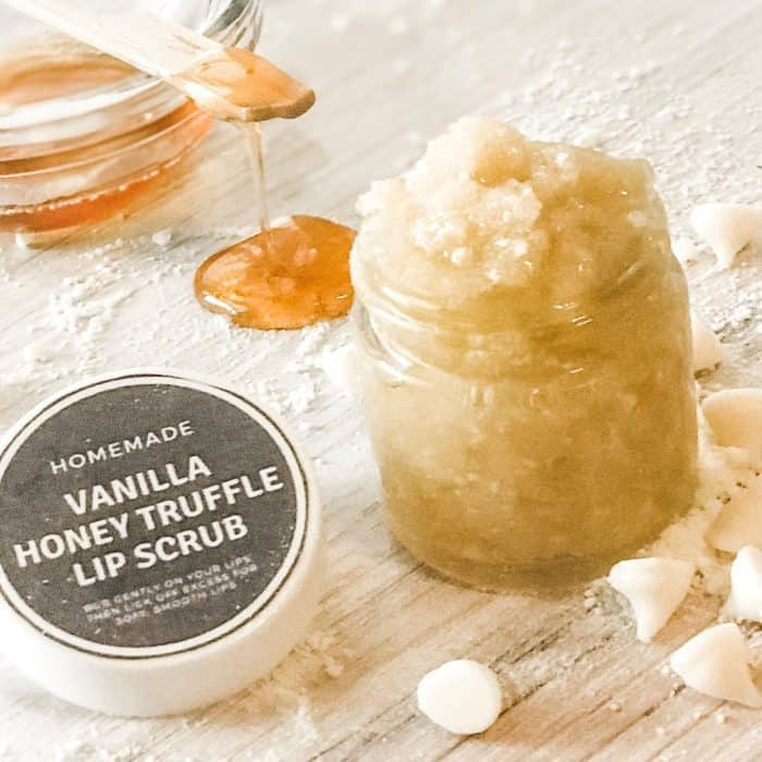 homemade DIY recipe of vanilla honey lip scrub made with essential oil