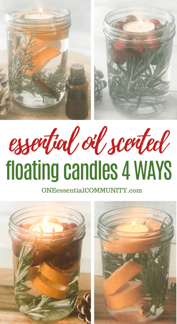 How to make scented Christmas floating candles in mason jar with essential oils, easy DIY to fill your home with holiday aromas, essential oil scented floating candles four ways
