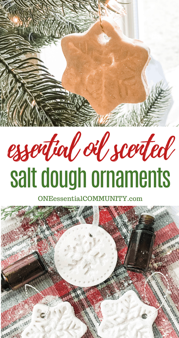essential oil scented salt dough Christmas ornaments, snowflake ornament hanging from Christmas tree, ornaments displayed on Christmas-themed background with essential oil bottles