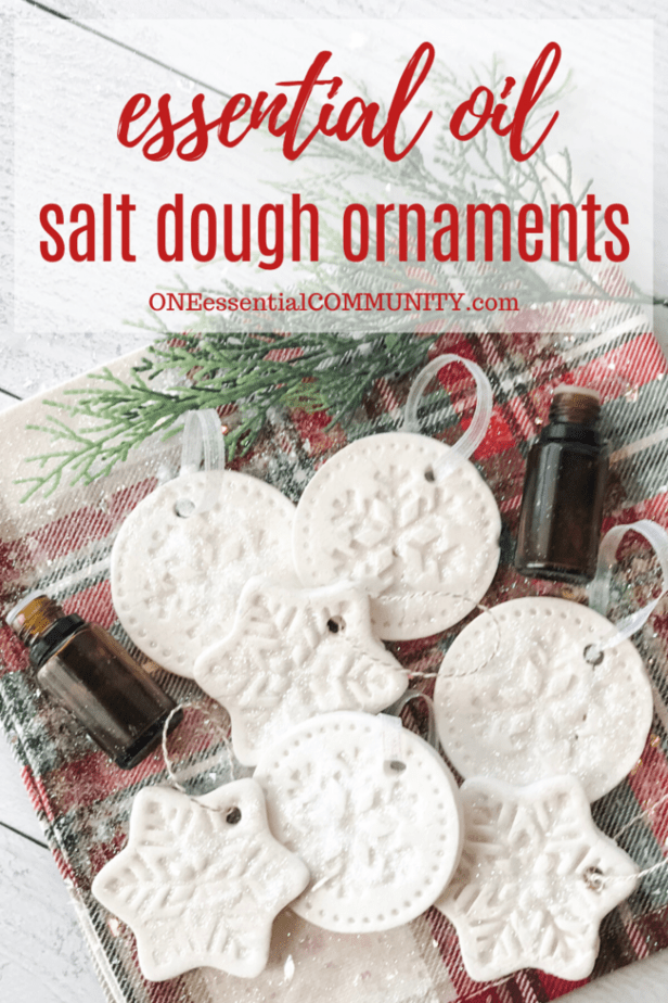 Essential Oil Salt Dough Ornaments title image with essential oil bottles