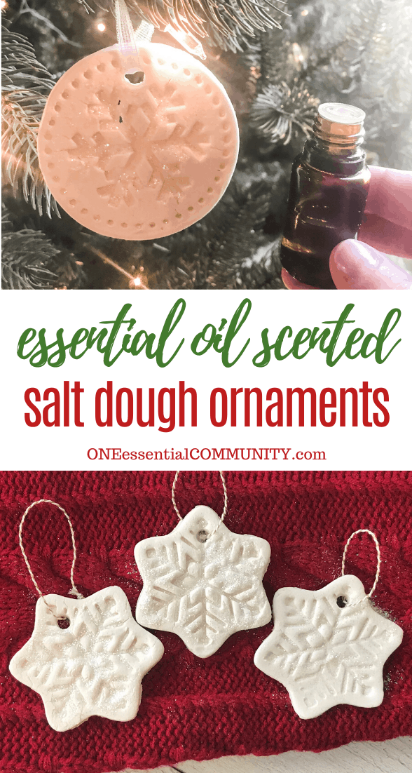 essential oil scented salt dough Christmas ornaments, snowflake shaped ornament hanging from tree next to hand-held essential oil bottle, snowflake ornaments on red display
