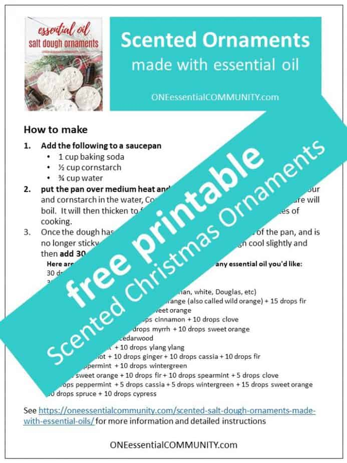 link to printable of scented Christmas Ornaments recipe with essential oils