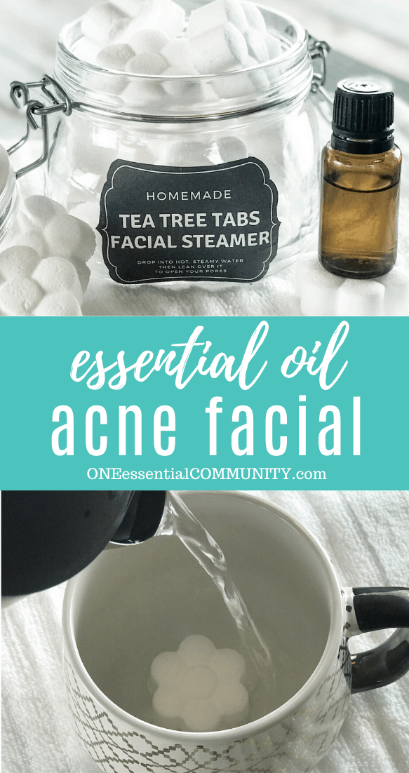 essential oil acne facial image collage with flower shaped tea tree tabs facial steamer in open glass jar essential oil bottle, pouring hot water into mug to activate steamer