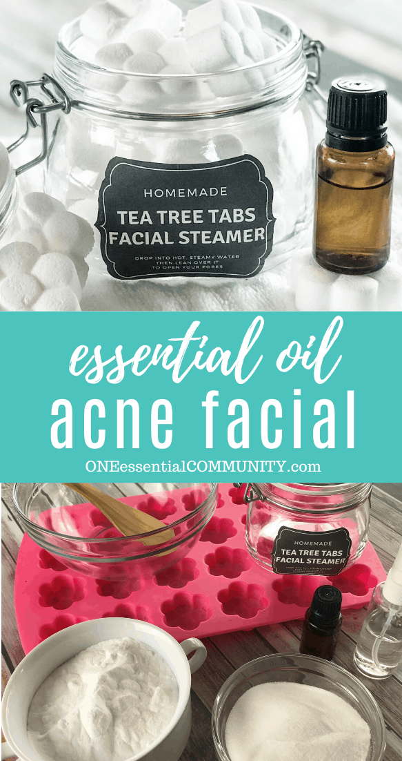 essential oil acne facial image collage with flower shaped tea tea tabs facial steamer in open glass jar, essential oil bottle, title card, ingredients and tools collection tea tree essential oil witch hazel baking soda citric acid