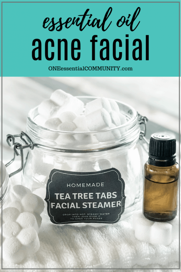 essential oil acne facial title card, with facial steamers in clear jar and essential oil bottle