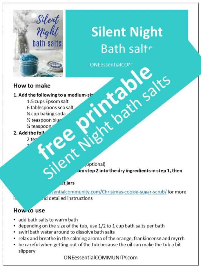 Link to printable Silent Night Bath Salts recipe and labels