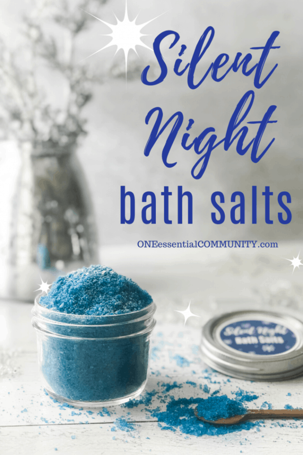 Silent Night Bath Salts title image with bath salts in jar with custom label