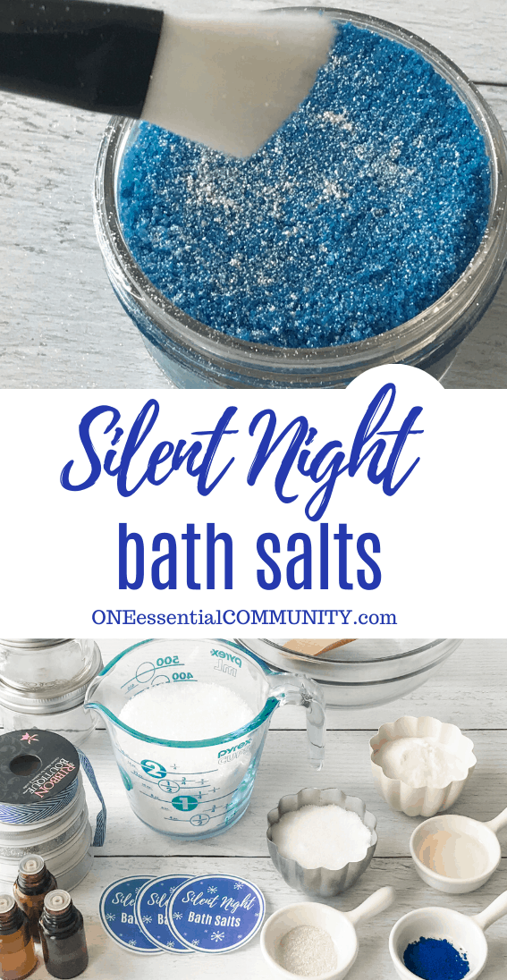 Silent Night Bath Salts title image, full jar of bath salts with silver mica sprinkled across top, and display of unassembled ingredients of Epsom salt, sea salt, baking soda, lake blue coloring, silver mica, essential oils