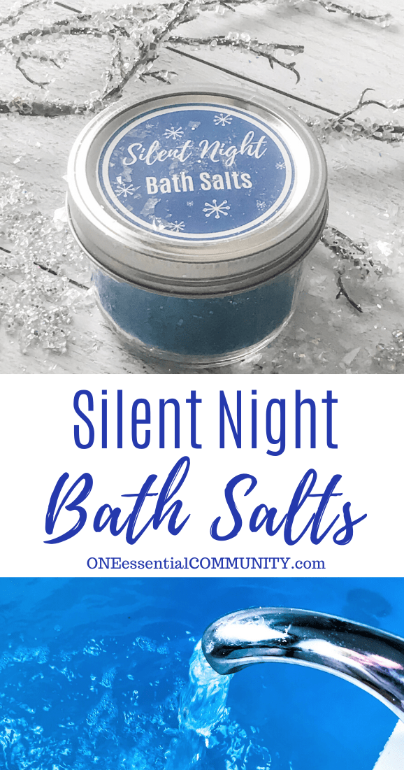 SIlent Night Bath Salts title image, bath salts in jar with custom label, and running bath water