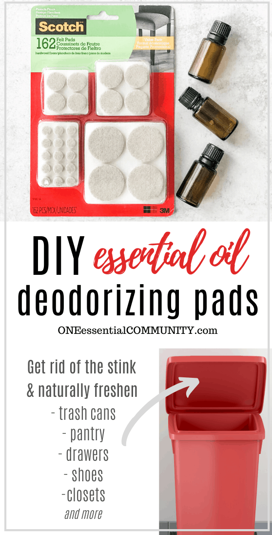 DIY essential oil deodorizing pads, pads with essential oil bottle, rainbow assortment of shoes, trash can, towels