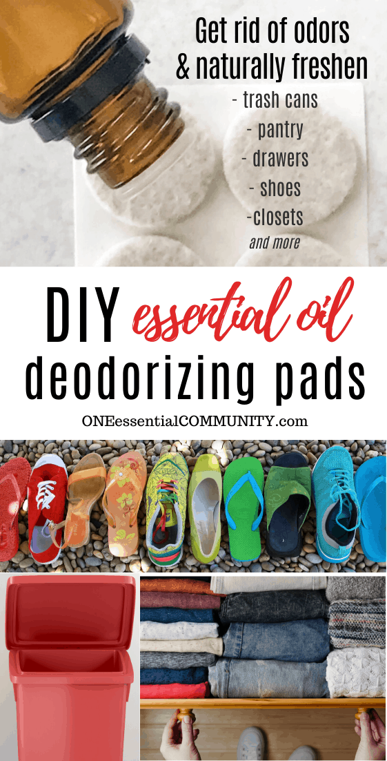 One essential community essential oil deodorizing pads title image, essential oil bottle, felt pads, deodorize your trash can, shoes, clothes using essential oils