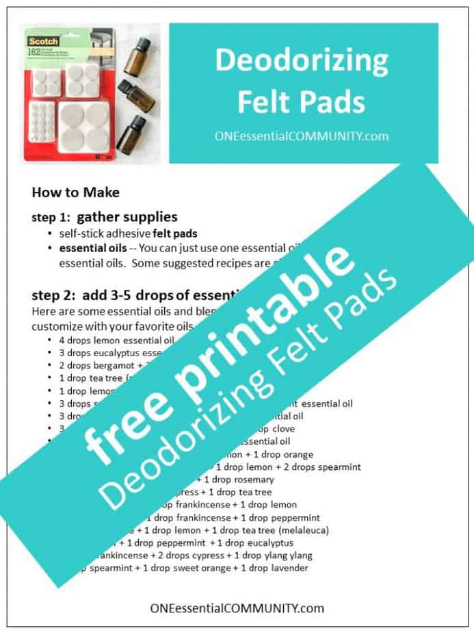 link to printable deodorizing felt pads recipe using essential oils