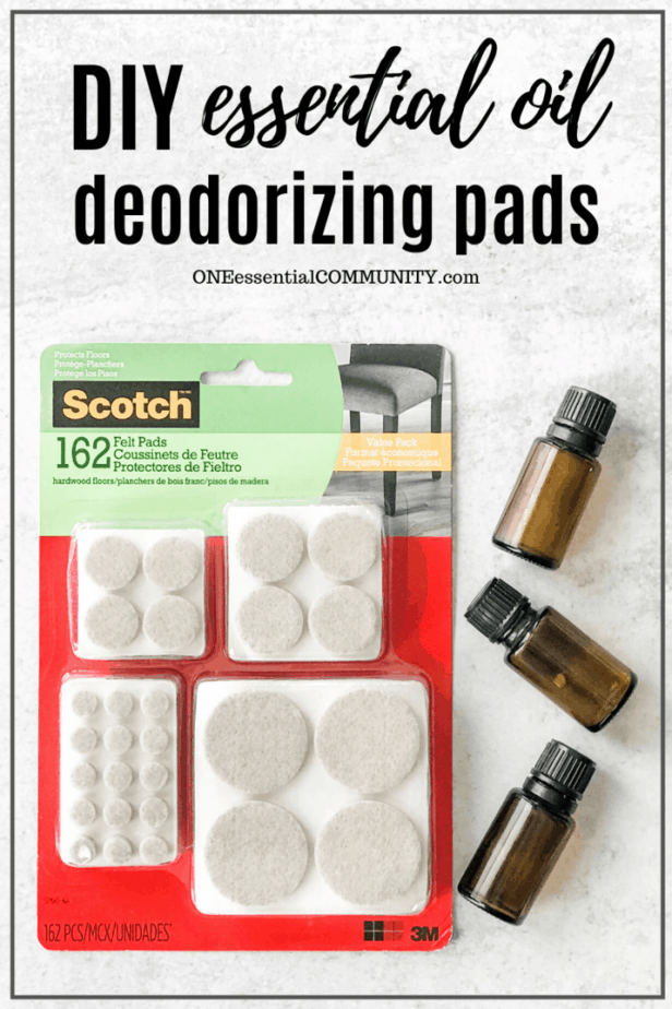 One Essential Community DIY essential oil deodorizing pads supplies, package of Scotch felt pads, essential oil bottles