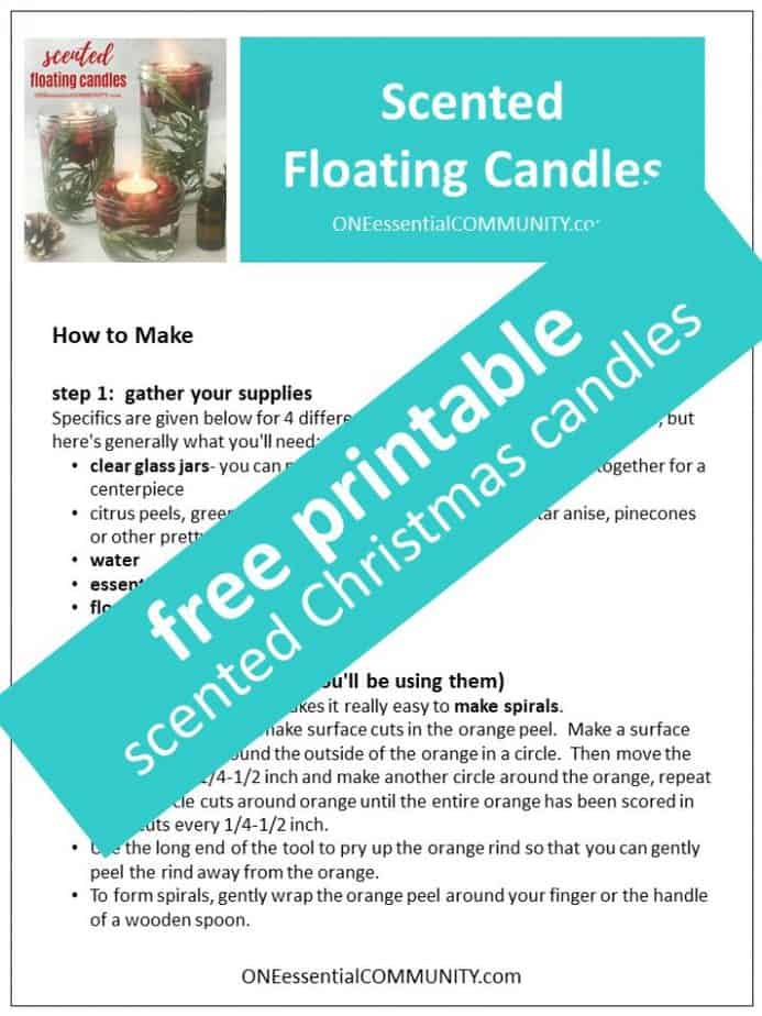 free printable for how to make scented floating candles with essential oils