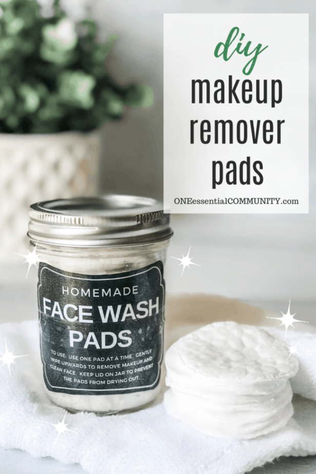 DIY makeup remover pads in clear glass jar all-natural recipe with essential oils