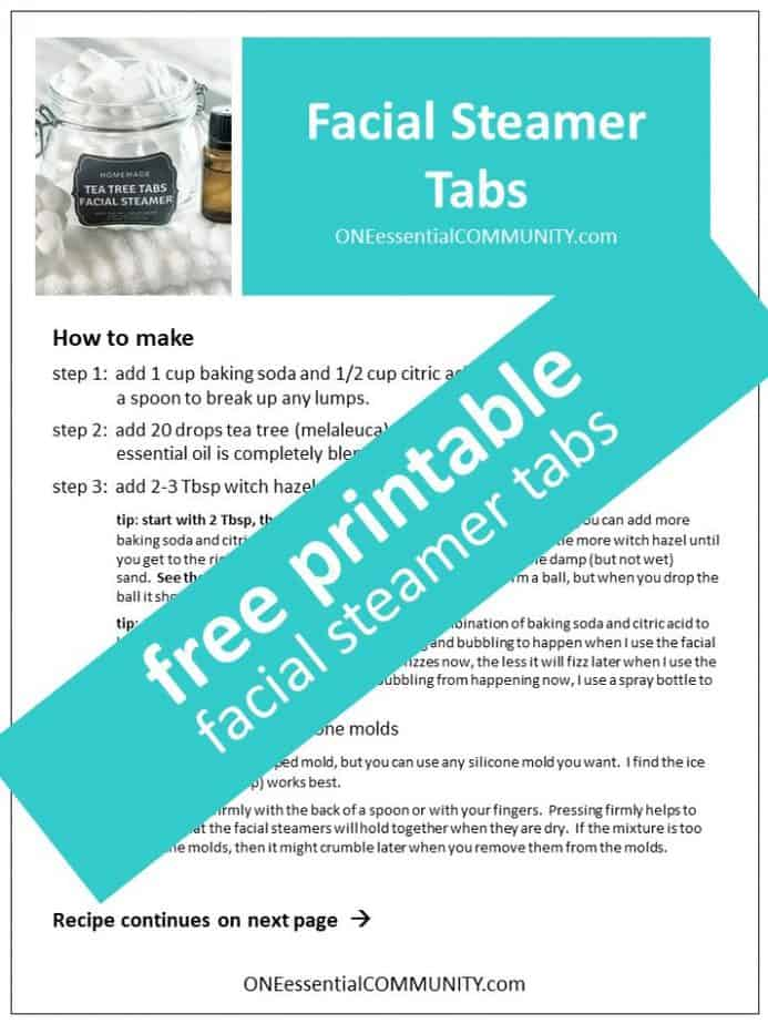 link to printable recipe and labels for tea tree essential oil facial steamer tabs
