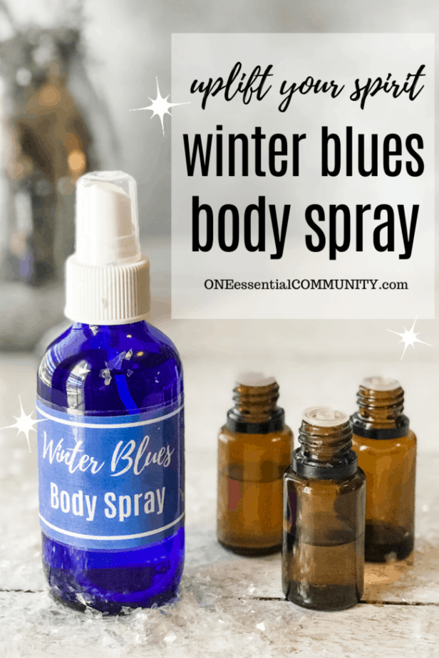 Winter Blues body spray title image with spray bottle with custom label, essential oil bottles