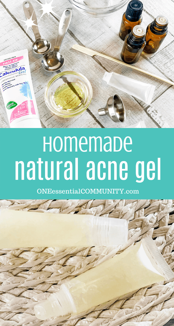 Homemade natural acne gel with essential oils treat pimples clear skin with this easy DIY acne treatment using essential oils