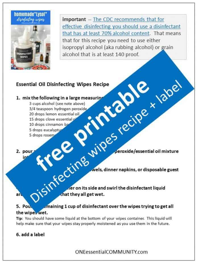 link to printable homemade disinfecting wipes recipe and label