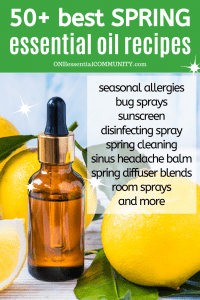 """DIY essential oil recipes for seasonal allergies, bug sprays, sunscreen, spring diffuser blends, spring room spray, homemade """"febreeze"""" linen spray, DIY disinfecting spray, sinus headache balm, bug repellent lotion bars, essential oil spring cleaning recipes, and LOTS MORE! There are rollerball recipes, inhalers, sprays, diffuser blends, and more {essential oil recipes, DIY cleaning, doTERRA, Young Living, Plant Therapy}"""
