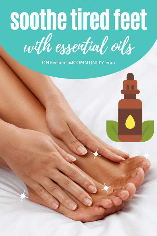 soothe tired feet rollerball recipe title image with pictures of feet and essential oil bottle