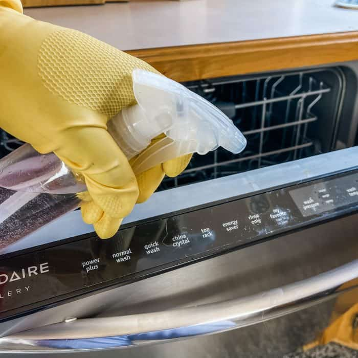 using homemade Lysol disinfecting spray to clean dishwasher control panel and door