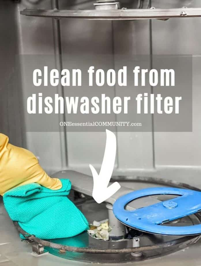 cleaning food from dishwasher filter