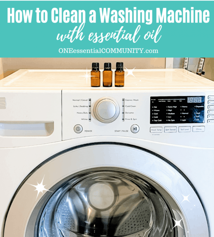 How to clean a washing machine with essential oil -- 3 bottles of essential oil on top of high efficiency washer