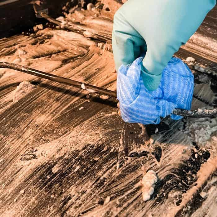 use clean cloth to wipe up any cleaning paste that gets on heating element