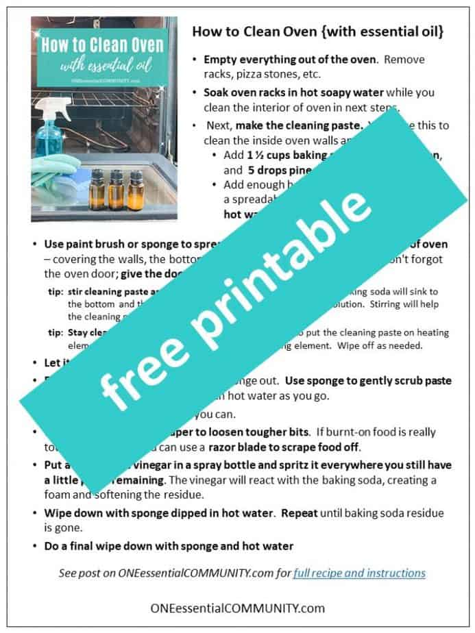 free printable of how to clean oven with essential oil