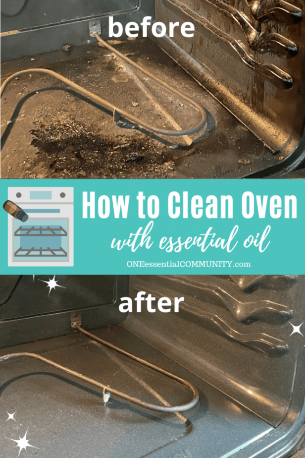 how to clean oven with essential oil -- before photo of dirty oven and after photo of clean oven