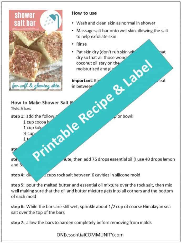 free printable for salt scrub bar recipe