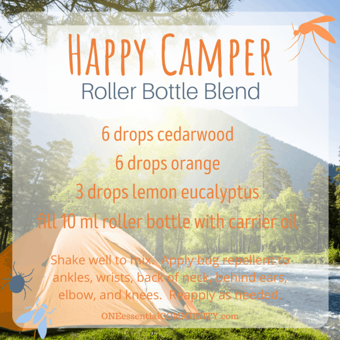 Happy Camper roller bottle blend by oneessentialcommunity.com -- 6 drops cedarwood, 6 drops orange, 3 drops lemon eucalyptus essential oil, then fill 10ml roller bottle with carrier oil. shake well to mix. apply bug repellent to ankles, wrists, back of neck, behind ears, elbows, and knees. reapply as needed.